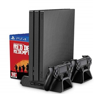 Soporte vertical PS4 / PS4 Slim / PS4 PRO con enfriador de ventilador de refrigeración Cargador de doble controlador Estación de carga para SONY Playstation 4
