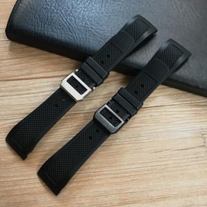 Fin courbe 22mm bande noire en silicone souple en caoutchouc montre pour IWC Portugieser YACHT CLUB CHRONOGRAPHE IW390502 IW390209 Montre bracelet