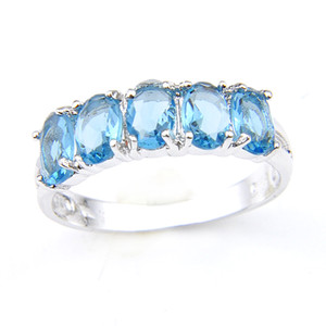 LuckyShine Nuovo Arrivo Full New Oval Sky Sky Blue Topaz Gemstone 925 Sterling Silver Placcato per le donne Charm Gift Gift Anelli gioielli R0434