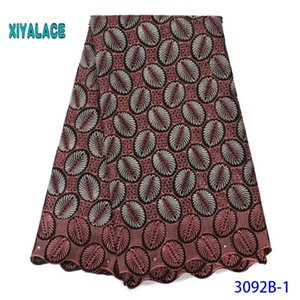African Dry Cotton Lace Fabric High Quality Swiss Voile Laces In Switzerland Cotton Nigerian Man Voile Lace 5 Yards YA3092B-1