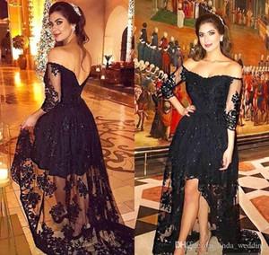 2019 Barato Negro Vestido de Noche Nuevo Árabe Dubai Off-Shoulder Lace Formal Holiday Wear Prom Party vestido por encargo más tamaño
