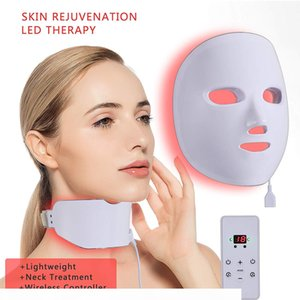 Tamax LM010 wireless Photon Therapy LED Facial face neck beauty Mask 7 Light Skin Rejuvenation Anti Wrinkle Acne Removal