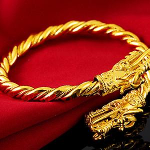 رأس التنين رجل إمرأة سوار 18k الذهب الأصفر بيان مليئة ملتوية صفعة سوار هدية ضياء 65mm ويمكن ضبط
