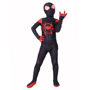 الأطفال العنكبوت في العنكبوت الآية مايلز موراليس تأثيري زي سبايدرمان البدلة أطفال 3d zentai تأثيري بذلة ارتداءها