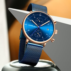 relogio masculino CRRJU Top Brand Luxury Men Stainless Steel WristWatch Men's Waterproof Calendar Chronograph Quartz watches 2020