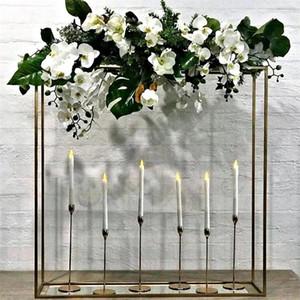 39 pulgadas de alto puesto de flores de metal color oro para el arreglo floral de la boda Centro de mesa Decoración moderna