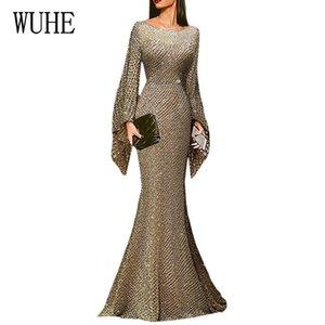 Wuhe Uzun Kat Süre Şık Ç Boyun Tam Kol Sparkle Pullu Maxi Elbise Şık Sıkı BODYCON Parti vestidos Y200418