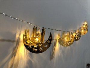 مسلم عيد رمضان الفطر LED القمر القلعة ضوء قصر سلسلة مهرجان رمضان وسام عيد وسام قلادة