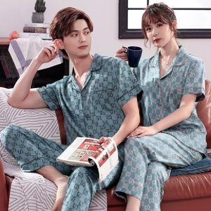 Casal de luxo terno pijamas de manga curta Calças Pijamas Ice Silk Pajamas Fina Seção Simulation Silk Mulheres Homens Home Service