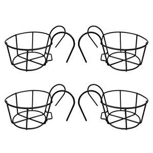 4x Iron Wire Hanging Balcony Flower Pot Brackets Holder Stand Rack Railing Shelf
