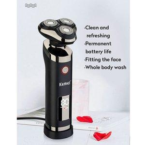Kemei USB rasoir rechargeable rasoir Barbe Lavable à trois lames 3D Floating électrique Rasoirs LCD hommes visage barbe