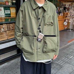 ملابس رجال السترة الربيعية ذات اللون الصلب والسترات متعددة الجيوب ... ... Mens Streetwear Wild Loose Hip Hop Bomber Stacket Guys