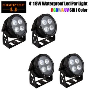 4 개 방수 LED 평면 파 4x18W RGBWAP DMX512 무대 효과 조명 좋은 야외 수영장 DJ 디스코 파티 댄스 플로어