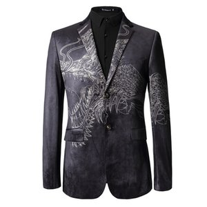 2019 New Arrival Costume Jacket Masculino Cool Dragon Printed Blazer Prom Fashion Wedding Tuxedo Performance Stage Wear Men Suit