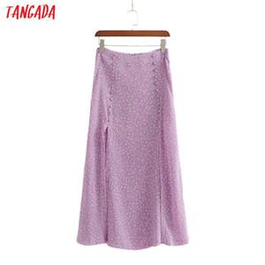 Tangada women purple floral print long skirt back zipper vintage female casual maxi skirts 1D185 CX200704