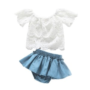 Baby Girl Clothes Newborn Sets Toddler Outfit Off Shoulder White Lace Tops Denim Shorts 2Piece kit Dropshipping roupa infantil