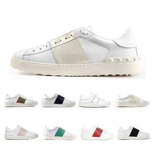 Melhor Qualidade de luxo 2019 sapatas do Vestido para mulheres dos homens Triplo Preto sliver rosa vermelho verde listra de couro sapatos casuais tamanho branco sneaker 36-46
