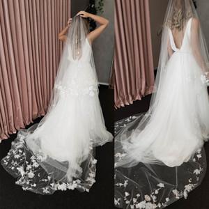 Custom Made duas camadas 3D nupcial Flor Véus Lace apliques de pérolas Tulle Wedding Catedral Hairpieces Acessórios de casamento Length