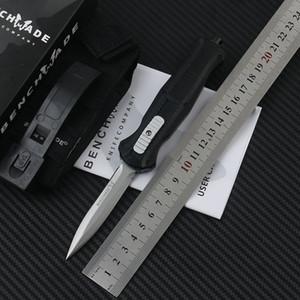 Bench Mini ungläubiges Double Action Automatische Messer 3350 D2 Stahlstangen-Punkt EDC Taschen-taktisches Zahnrad Überlebensmesser mit Nylonscheide