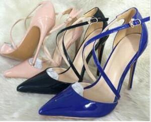 Nuovo progettista donne dei sandali delle pompe 12cm color nudo Croce Rossa inferiore Tacchi alti sottile tacco sexy ritagli Hollow Nero / Blu Scarpe da sposa