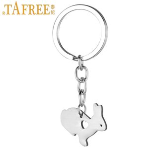 ashion Jewelry Key Chains TAFREE cute little bunny women purse bag keychain stainless steel rabbit pendant key chain ring holder Easter g...