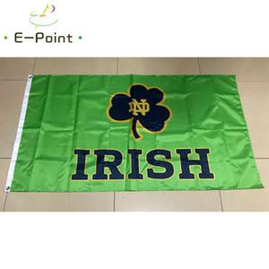 İrlanda polyester Bayrak 3 ft * 5 ft (150cm * 90cm) Bayrak Banner dekorasyon uçan ev bahçe açık hediyeler Mücadele NCAA Notre Dame Bayrağı