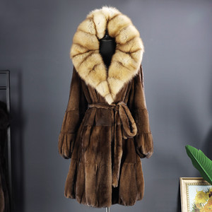 Arlene sian 2020 Imported coat velvet mink coat Russian sable hooded mid-length new