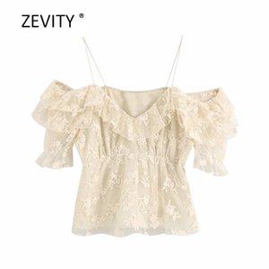 de malla de las señoras blusa elegante en cascada camisas volante honda plisados feniminas Zevity bordados de flores en moda mujer Casual Tops LS6816