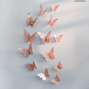 Wall 12pcs set For Hollow Sticker 3d Wedding Butterfly Decoration Living Room Home Decor Gold Silver Butterflies Stickers