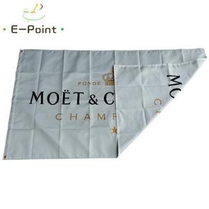 Çift Moet Chandon Champagne Bayrak Beyaz Arka Plan Taraflı 3 * 5 ft (90cm * 150cm) Polyester EPL bayrak Banner dekorasyon uçan ev bahçesi
