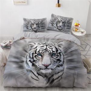 3D letto di nero Duvet Quilt Cover Set Consolatore Lenzuola federa Re Regina 203x230cm Dimensioni Animal Tiger disegno stampato