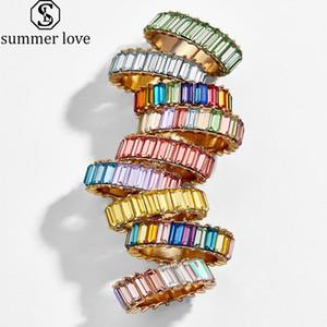 Dia dos Namorados Boho do arco-íris de cristal Stacking Anel para as Mulheres Moda cor do ouro Baguette casamento do noivado eternidade Rings-Z