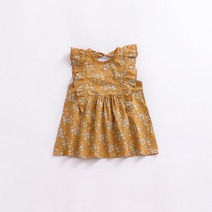 Retro Girl Floral Print Sleeve Dress Beautiful For Casual Daily Wearing Fashionable Kids Best Birthday Gift