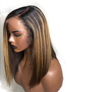 Bob Luces en Rubio sedoso 13X6 del frente del cordón pelucas del pelo humano pelo humano brasileño de encaje frontal 360 Resalte Bob Pelucas para mujeres Negro