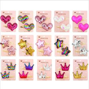 Childrens migliori clip di vendita dei capelli delle ragazze 2019 di modo grazioso Paillettes della stella di disegno del cuore Principessa Barrettes forcelle sveglie per bambini partito