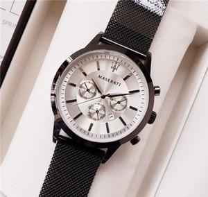 Best-Seller da uomo Sport Orologio da polso maserati Steel Mesh Strap Movimento al quarzo regalo Orologio time clock Relojes Hombre Horloge Orologio Uomo