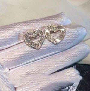 مذهلة الحلو لطيف مجوهرات فاخرة ريال 925 الأميرة فضة كاملة قص الأبيض توباز CZ حزب الماس المرأة القلب مربط القرط هدية