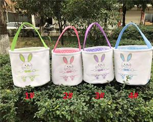 Easter Basket Кролик Кролик Уши Холст ведро сумки Пасхальные яйца Hunt Сумки для Детей Подарки 4 Colors HH7-1989