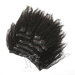 Clip VMAE índio não transformadas Virgem humano Ins 3A 3B 3C afro Kinky encaracolado 4A 4B 4C 120g Cor Natural grampo em extensões de cabelo