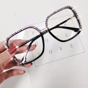 Oversized Diamond Square Glasses Frame Women Eyeglasses Brand Design Luxury Crystal Clear Lens Sunglasses Frames Eyewear & Accessories Glass