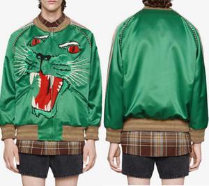 Homem Panther Rosto Casual Zip Jacket Verde Através Up desgaste de lazer Blusão de homem Curto Estilo