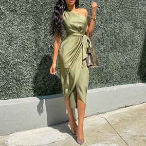 Solid Color Womens Casual Elegante Designer Vestidos Moda Bind Dividir Womens irregulares Casual Vestidos fêmeas roupa