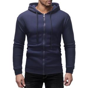 Hommes ordinaire Hoodie 7 Couleur capuche Zip Jacket Survêtement Hommes Coton Sweat Hauts Casual ceinture nouée en tissu solide