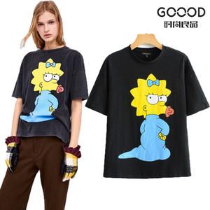 2019 Yeni Harajuku Yaz Pamuk T-shirt Kadın Kısa Kollu Karikatür Simpsons Baskılı Kadın Tee Rahat Komik Siyah Temel T-Shirt S19715