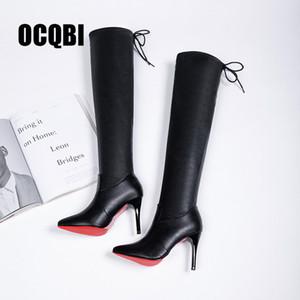 2019 Chaussures Femmes Bottes Talons Rouge Bas Cuissardes Bottes en cuir Beauté Mode Femme Bottes longues Taille 35-39 CJ191130