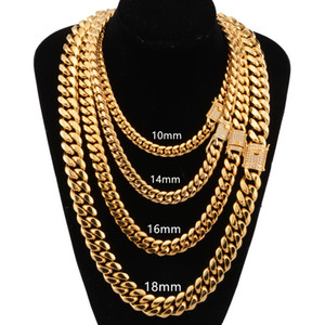 8mm/10mm/12mm/14mm / 16mm Miami Cuban Link Chains Stainless Steel Colares CZ Zircon Box Lock Gold Chains for Men Hip Hop jewelry