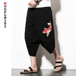 Lino del cotone degli uomini harem pants polpaccio Carp ricamo pantaloni larghi pantaloni di lino Autumn Croce Lino Uomo Casual M-5XL