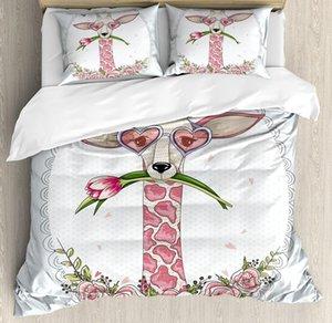 Валентина пододеяльник Set Cute Hipster Жираф с тюльпановой форме сердца очки Урожай Любовь Рамка Bedding Set Синий Розовый