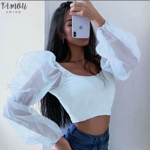 Womens Long Puff Sleeves T Shirt New Lace Solid Color Square Collar Leotard Tops Wear Sexy Summer Fashionable T Shirts Hot Sale