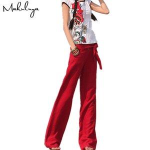 Makuluya 2019 бесплатные брюки лучше льняные брюки свободные сплошной цвет широкие брюки прямые прямые женщины Y19071601